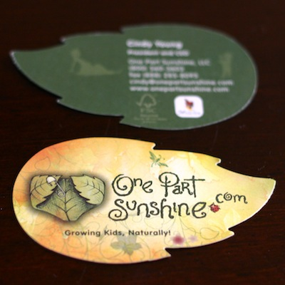 OnePartSunshine.com leaf-shaped business card using FSC 100% recycled paper and waterless printing
