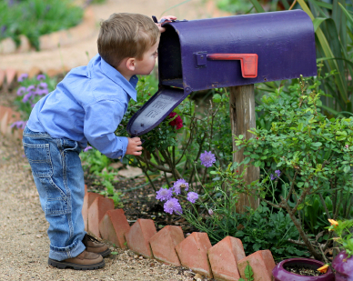 child looking in mailbox junk mail