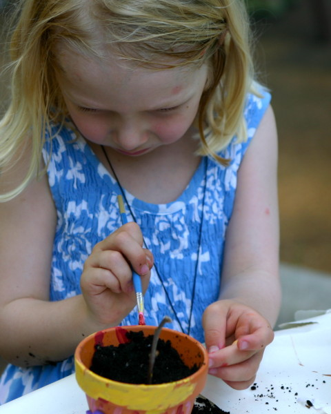 Painting Flower Pots at Garden Birthday PArty