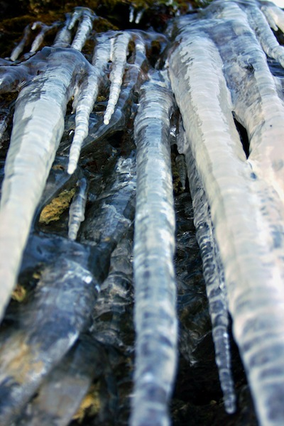 icicles on skyline drive in blue ridge mountains