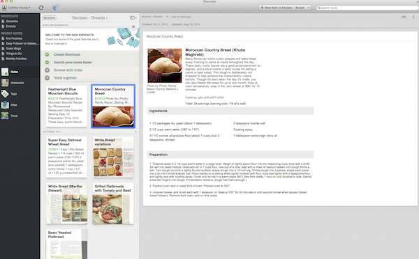evernote screen shot recipes