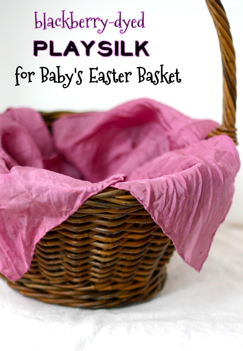 Blackberry-dyed playsilk for Baby's Easter Basket | OnePartSunshine.com