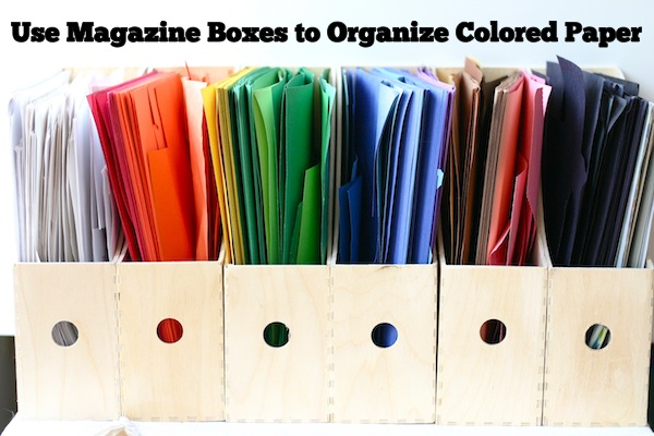 Organize Colored Paper and Scraps Using Magazine Holders | OnePartSunshine.com