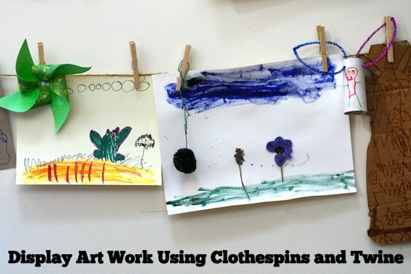 Use Clothespins and Twine to Hang and Display Kids Art Work | OnePartSunshine.com