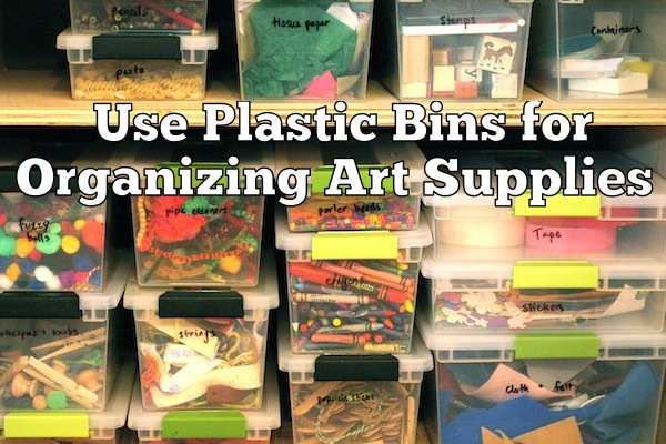 Use Plastic Bins to Organize Art Supplies | OnePartSunshine.com
