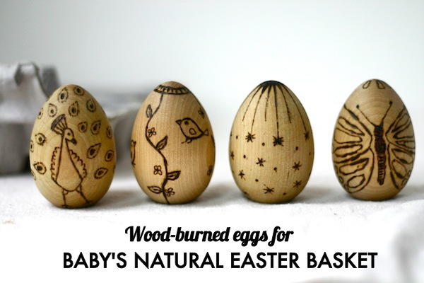 Wood burned wooden eggs for baby's Easter basket | OnePartSunshine.com