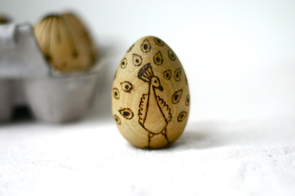 Wood burned wooden eggs for baby's Easter basket - peacock | OnePartSunshine.com