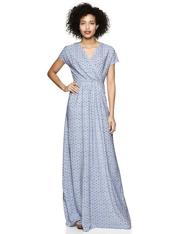 Nursing-friendly dresses | Printed Crossover Maxi Dress by Gap