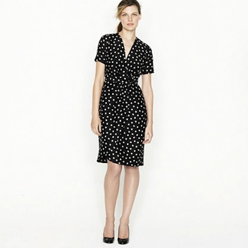 Nursing-friendly dresses | Wrap Dress in Moon Dot by JCrew