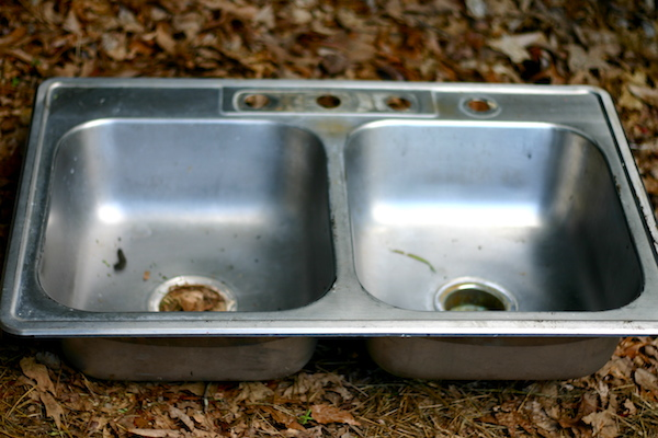 Planning the Mud Kitchen. Get a sink from a thrift shop.